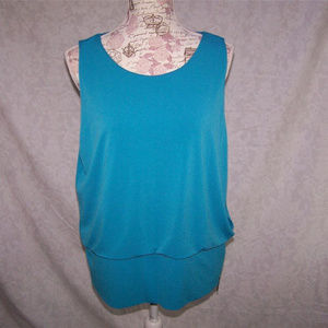 ALFANI Shirt Top L Blue Sleeveless Spandex Stretch